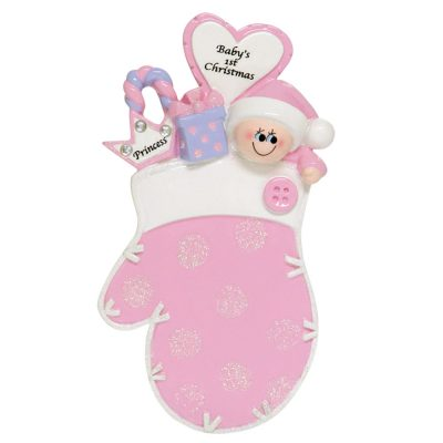 Baby's 1st Christmas Pink Princess Mitten Personalized Christmas Ornament - Blank