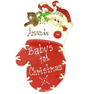 Red Baby Mitten Personalized Ornament