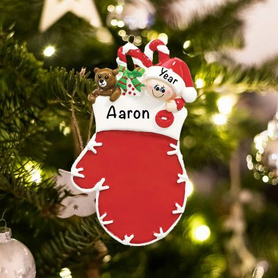 Personalized Red Mitten Elf Christmas Ornament