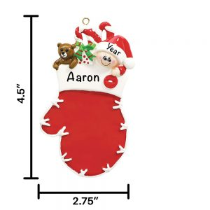 Red Baby Mitten Personalized Christmas Ornament