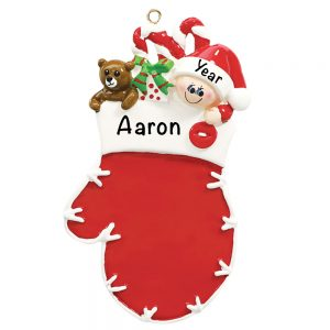 Red Mitten Elf Personalized Christmas Ornament