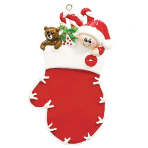 Red Mitten Elf Personalized Christmas Ornament - Blank
