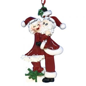 Mr and Mrs Claus Couple Personalized Christmas Ornament