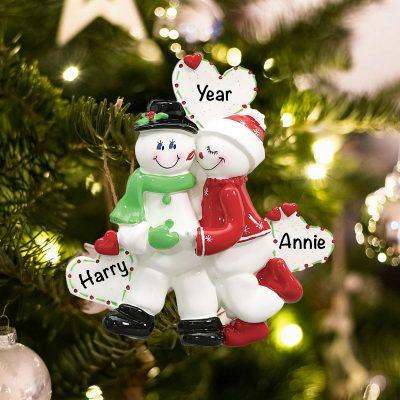 Personalized Snowman Love Couple Christmas Ornament