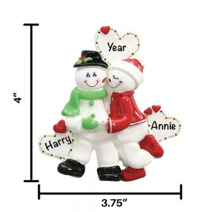 Snow Sweethearts Personalized Christmas Ornament