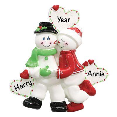 Snowman Love Couple Personalized Christmas Ornament