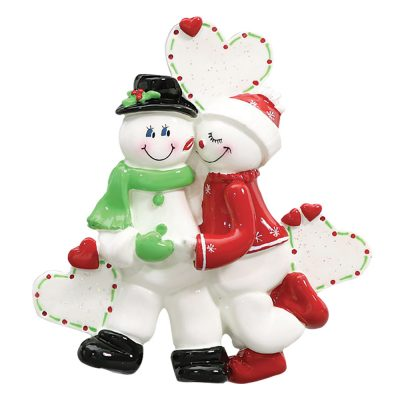 Snowman Love Couple Personalized Christmas Ornament - Blank
