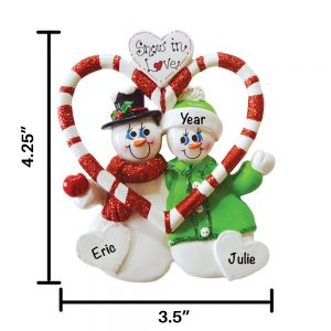 Candy Cane Love Personalized Christmas Ornament