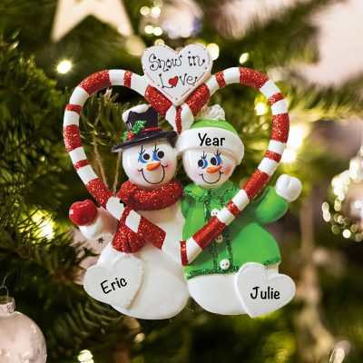Personalized Snowmen Snow in Love Christmas Ornament