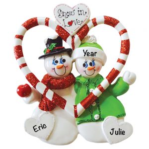 Snowmen Snow In Love Personalized Christmas Ornament