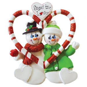 Snowmen Snow In Love Personalized Christmas Ornament - Blank