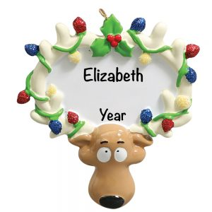 Reindeer with lights Personalized Christmas Ornament