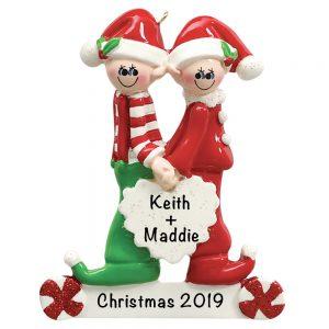 Santa Helper Couple Personalized Christmas Ornament