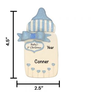 Baby Bottle Blue Personalized Christmas Ornament