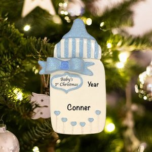 Personalized Babys First Bottle Blue Christmas Ornament