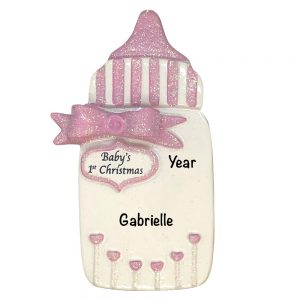 Baby's 1st Christmas Pink Bottle Personalized Christmas Ornament