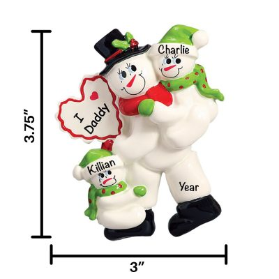 I Love Daddy 2 Children Personalized Christmas Ornament