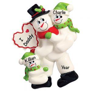I Love Daddy with 2 Children Personalized Christmas Ornament