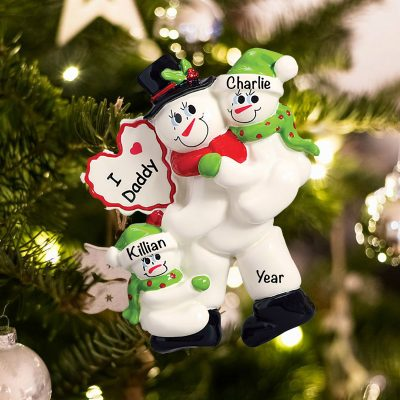 Personalized I Love Daddy 2 Children Christmas Ornament