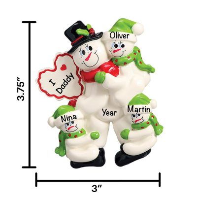 I Love Daddy 3 Children Personalized Christmas Ornament