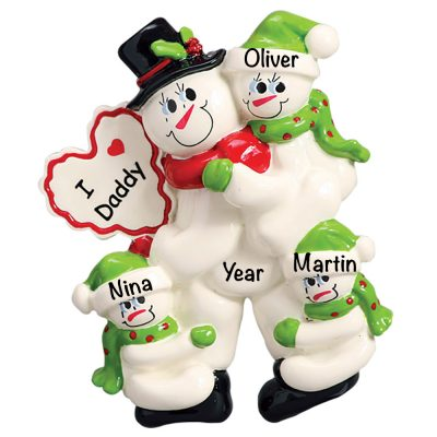 I Love Daddy with 3 Children Personalized Christmas Ornament