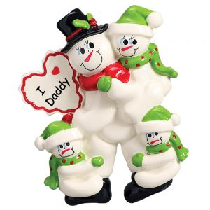 I Love Daddy with 3 Children Personalized Christmas Ornament - Blank