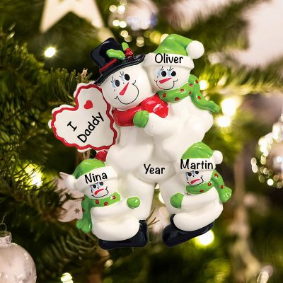 Personalized I Love Daddy 3 Children Christmas Ornament