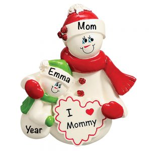 I Love Mommy Single Child Personalized Christmas Ornament