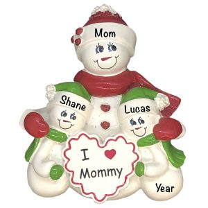 I Love Mommy Single Family of 2 Personalized Christmas Ornament