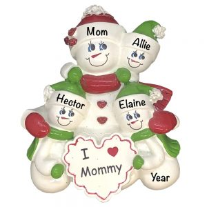 I Love Mommy Single Family of 3 Personalized Christmas Ornament