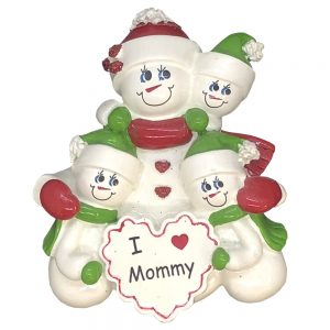 I Love Mommy Single Family of 3 Personalized Christmas Ornament - Blank