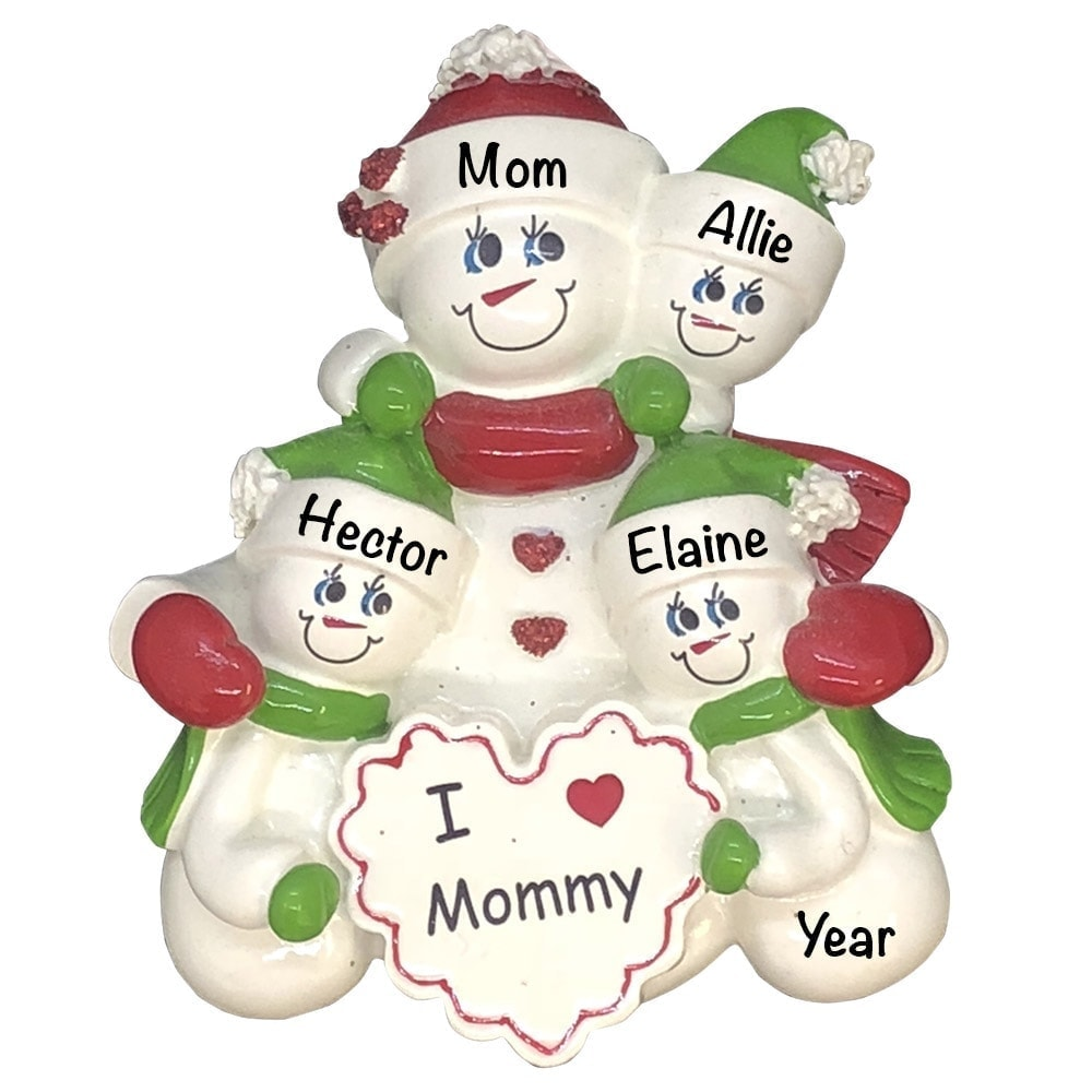 Mom With 3 Children Personalized Ornament - FREE ...