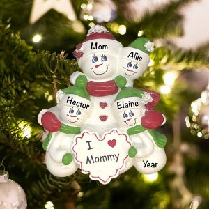 Personalized I Love Mommy 3 Children Christmas Ornament