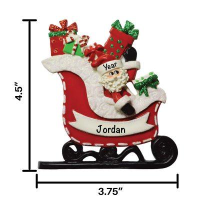 Santa Gift Sleigh Personalized Christmas Ornament