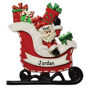 Santa Sleigh Personalized Christmas Ornament