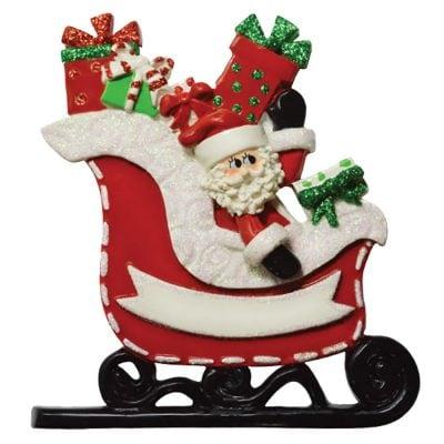 Santa Sleigh Personalized Christmas Ornament - Blank
