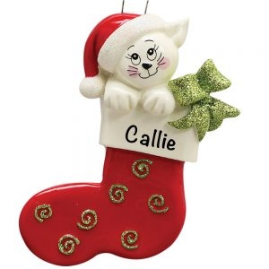 Cat In Stocking Personalized Christmas Ornament