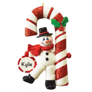Snowman Candy Cane Personalized Christmas Ornament