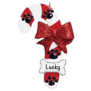Dog Candy Cane Personalized Christmas Ornament