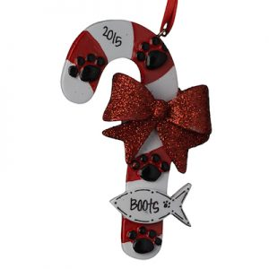 Cat Candy Cane Christmas Ornament