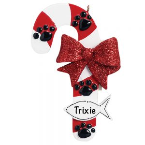 Cat Candy Cane Personalized Christmas Ornament