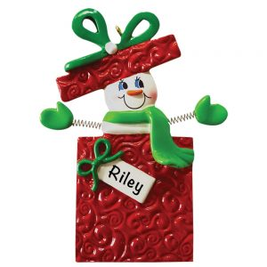 Snowman Gift Box Personalized Christmas Ornament