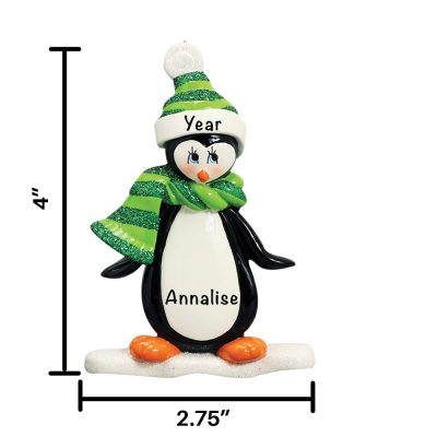 Penguin On Ice Personalized Christmas Ornament