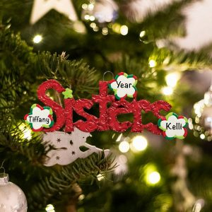 Personalized Sisters Christmas Ornament