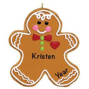 Gingerbread Man Cookie Personalized Christmas Ornament