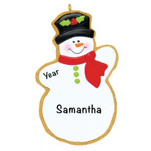 Gingerbread Christmas Snowman Personalized Christmas Ornament