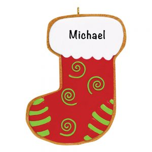 Gingerbread Christmas Stocking Personalized Christmas Ornament