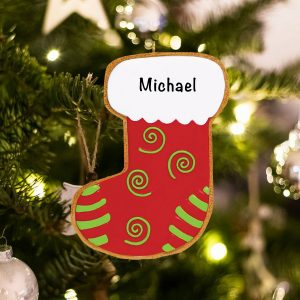 Personalized Gingerbread Stocking Christmas Ornament