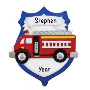 Fire Engine Emblem Personalized Christmas Ornament