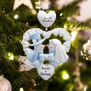 Personalized Snow Wedding Christmas Ornament